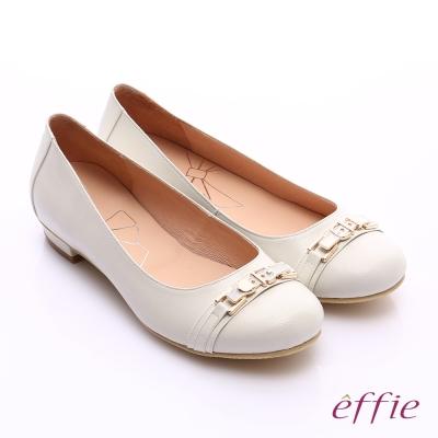 effie 繽紛舒適 全真皮金屬條帶低跟鞋 米色