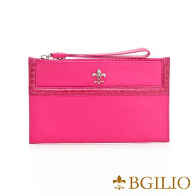 義大利BGilio-NAPPA軟牛皮俏麗拉鍊隨身萬用夾-粉紅色-1711.301-20
