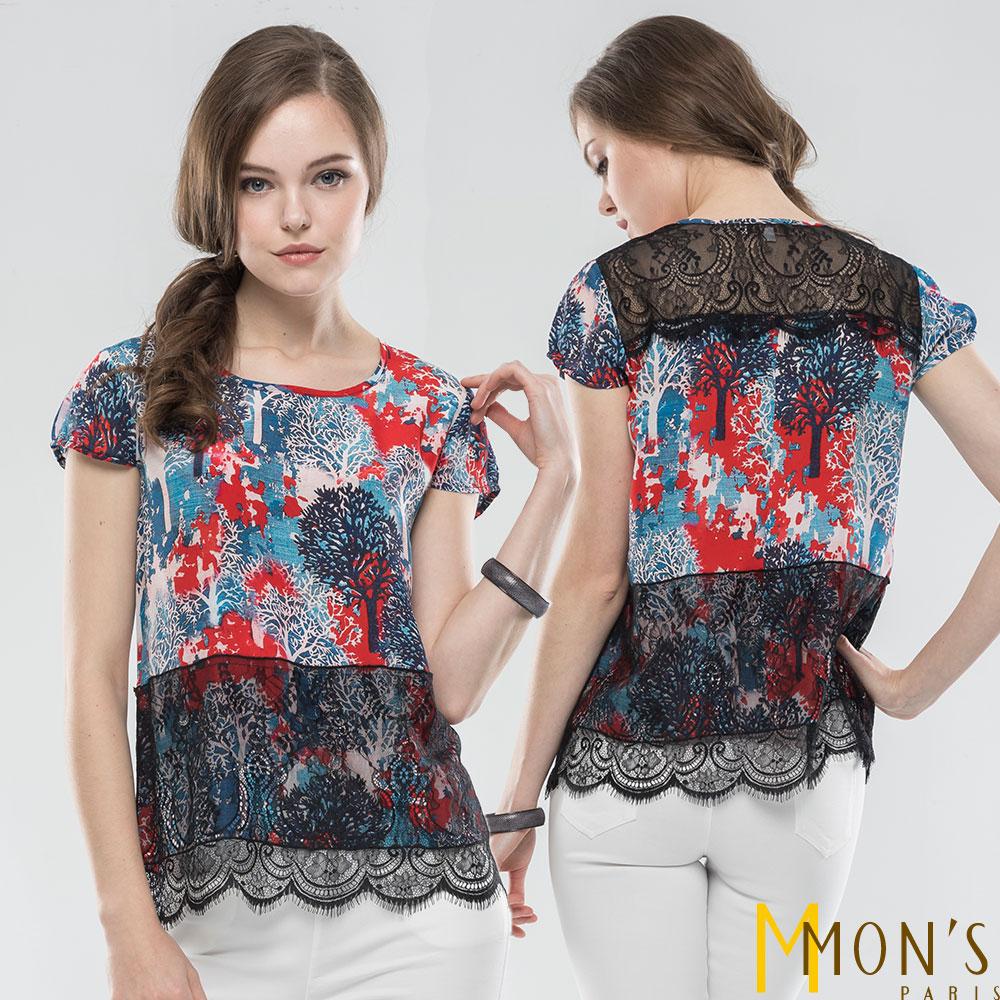 MONS 蠶絲撞色彩繪印花上衣