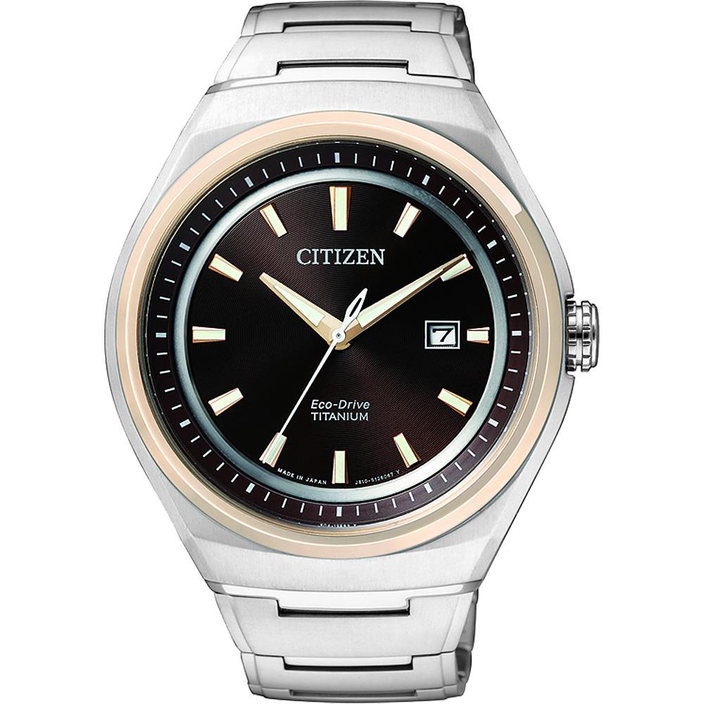 CITIZEN 超級鈦光動能都會時尚腕錶(AW1255-50W)-咖啡x玫塊金框/43mm