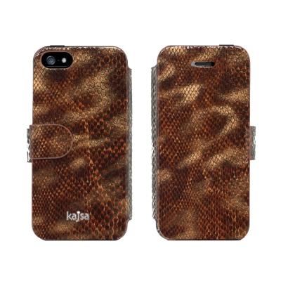 Kajsa Glamorous iPhone 5/5S/SE 牛皮側翻硬殼皮套-...