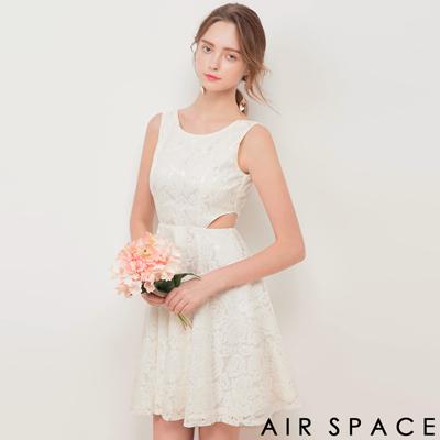 AIR SPACE 腰鏤空設計蕾絲傘襬洋裝(白)