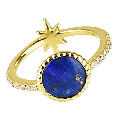 apm MONACO VALENTINE系列晶鑽鑲飾流星青金石設計純銀戒指-金