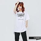 H:CONNECT 韓國品牌 女裝-棉質印字後綁帶洋裝-白