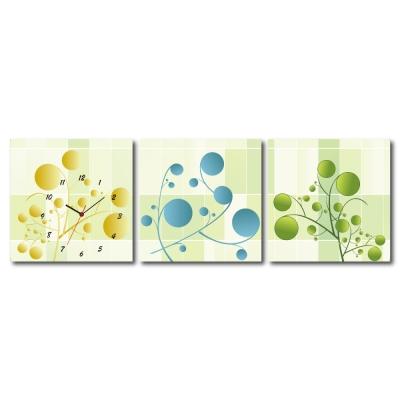 美學365 - 三聯式無框藝術掛畫時鐘- 小豆芽 50x50cm