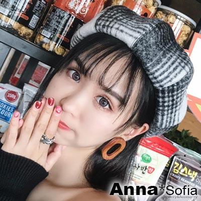 AnnaSofia 漸層韻律交叉線 毛呢畫家帽貝蕾帽(黑白系)