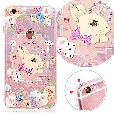 YOURS APPLE iPhone 6s Plus 奧地利彩鑽防摔手機殼-白兔...