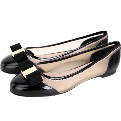 Salvatore Ferragamo Varina Net漆皮透膚娃娃鞋(黑色)