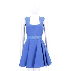 ELISABETTA FRANCHI 藍色背心傘裙洋裝(附腰帶)