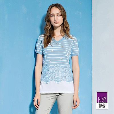 ILEY伊蕾 蕾絲配色剪裁條紋針織上衣(藍)