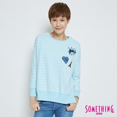 SOMETHING 休閒趣味貼布繡T恤-女-淺藍