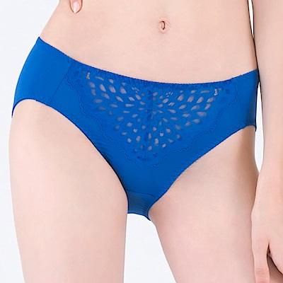 思薇爾 星幻美波系列M-XXL蕾絲中腰三角內褲(絢爛藍)
