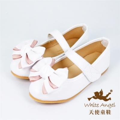 天使童鞋-J912 清新優雅公主鞋(中-大童)-白