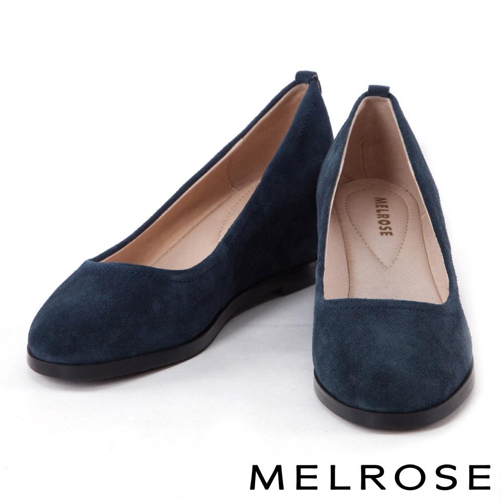 高跟鞋 MELROSE 時尚素色牛絨皮內增高高跟鞋-藍