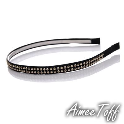 【Aimee Toff】韓國進口時尚雙排水鑽髮圈髮飾