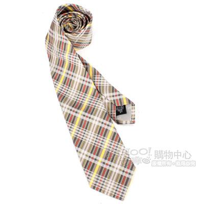 Vivienne Westwood 細線斜格紋絲質領帶-黃/淺咖