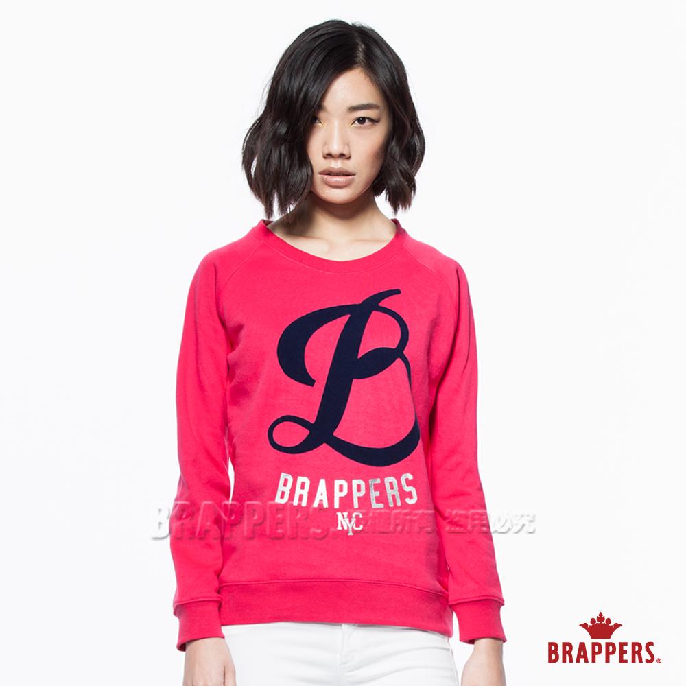 BRAPPERS女款LOGO拉克蘭長袖圓領上衣-桃紅