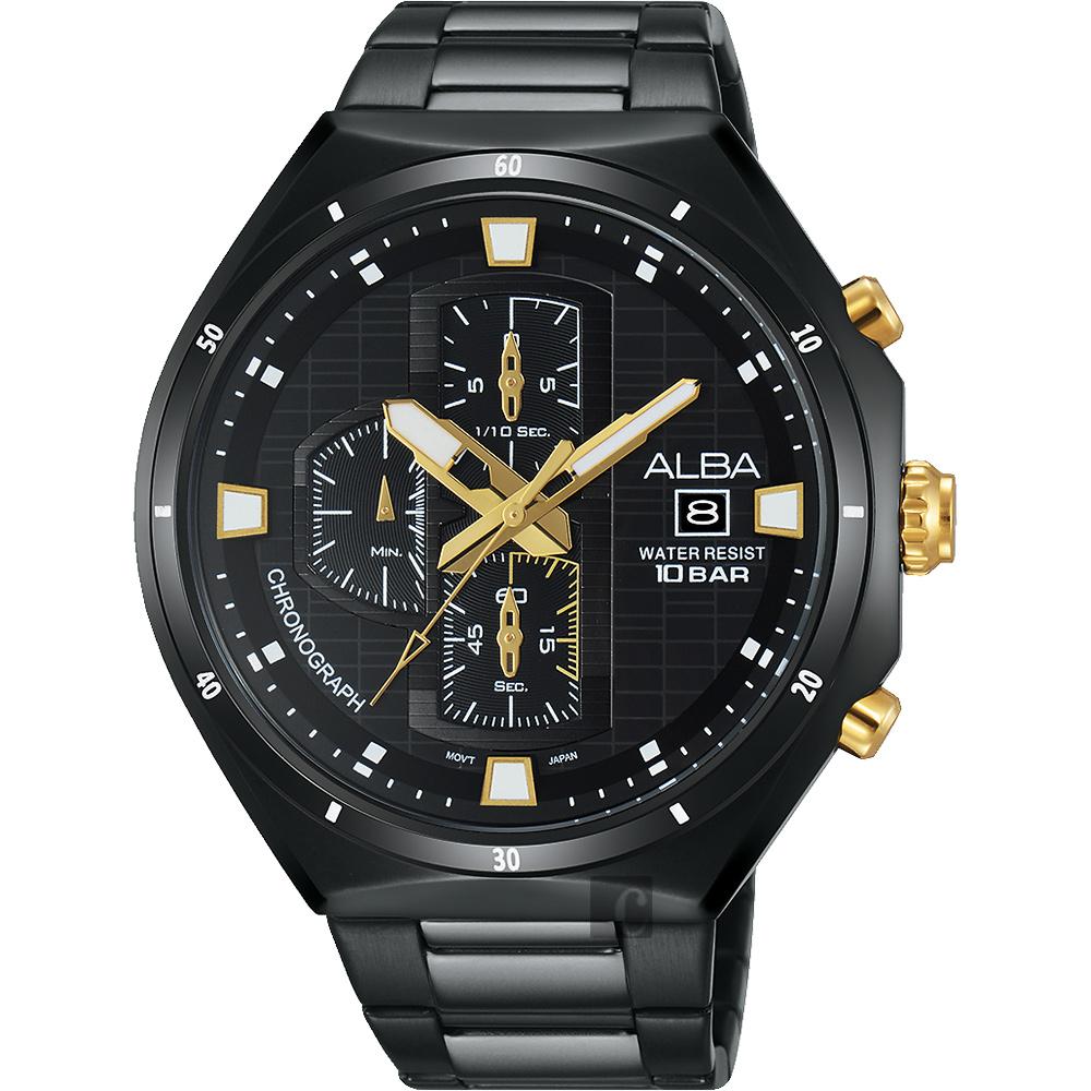 ALBA 東京聖誕限定計時腕錶(AM3403X1)-鍍黑/46mm