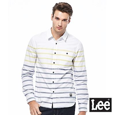 Lee 休閒條紋長袖襯衫-男款-白色