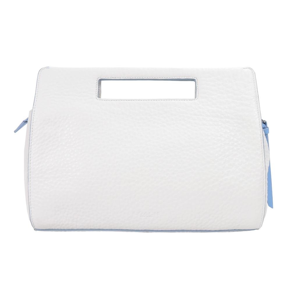 COACH 皮革荔枝紋手提包(白藍)COACH