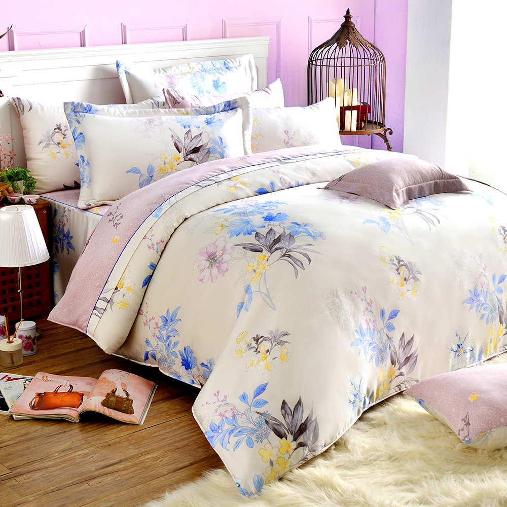 Saint Rose 浪漫絮語 特大100%純天絲兩用被套床包四件組