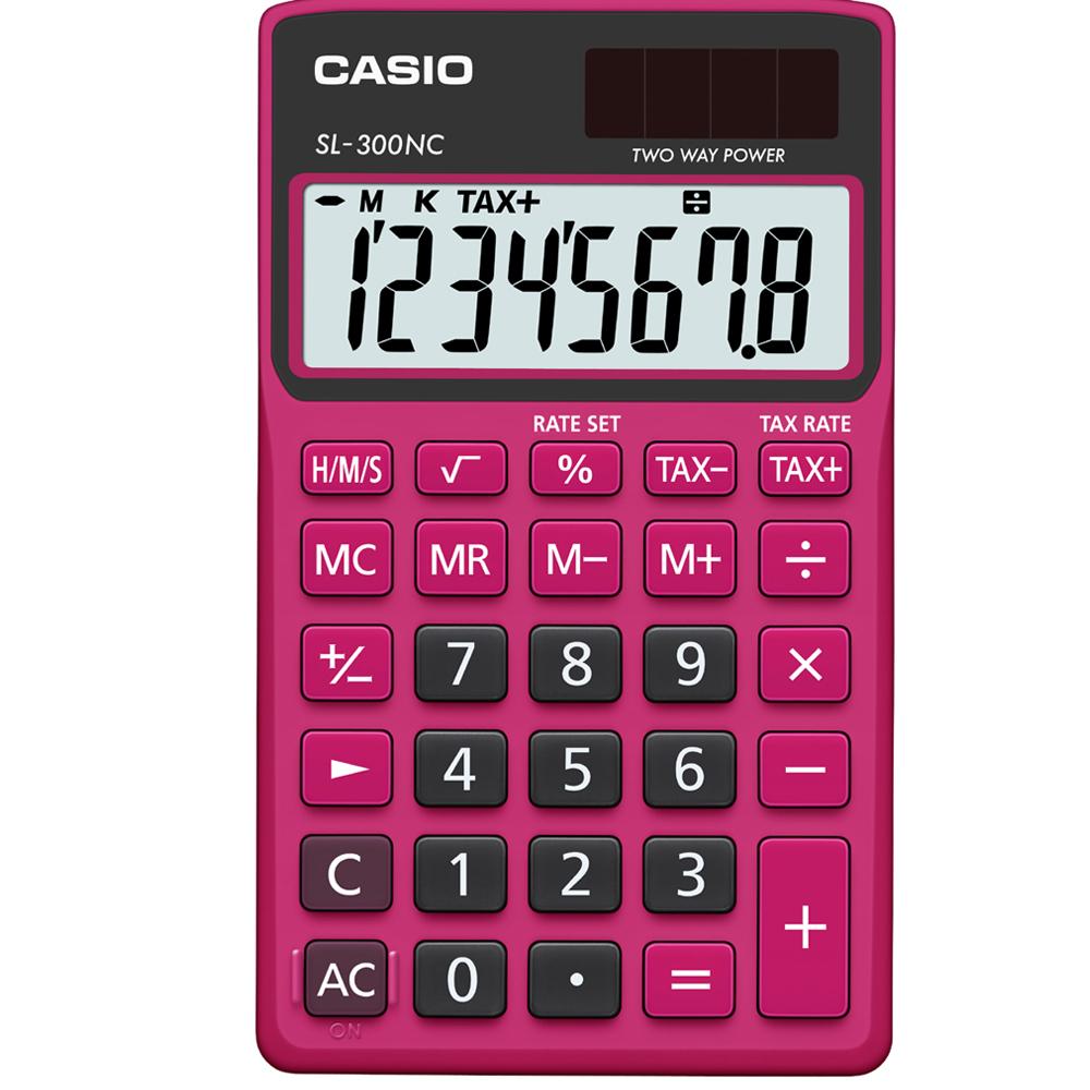 CASIO 8位數商務時尚輕巧攜帶型計算機(SL-300NC-BRD)黑/桃紅