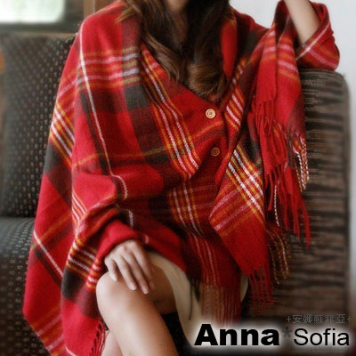 AnnaSofia-格紋木釦-仿羊絨披肩圍巾-櫻紅系