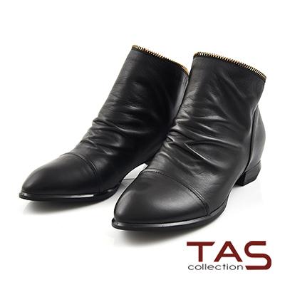 TAS-後V造型拉鍊牛皮抓皺低跟短靴-率性黑