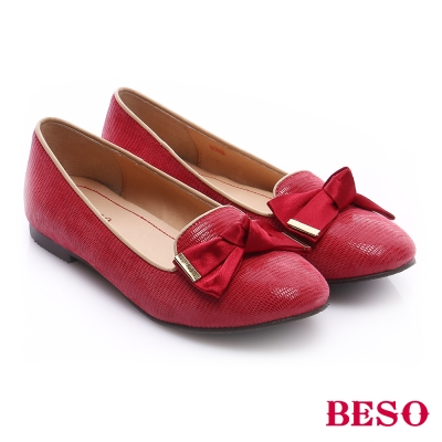 BESO 極簡風格 真皮素面蝴蝶結飾樂福鞋 紅