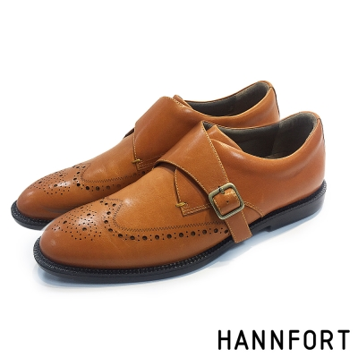 HANNFORT PERPETUAL真皮單扣孟克鞋-男-紳士棕