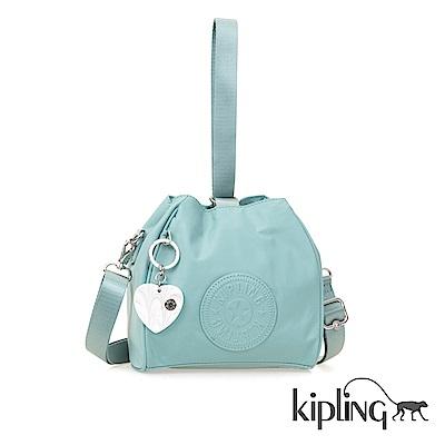 Kipling 斜背包 碧藍素面-小