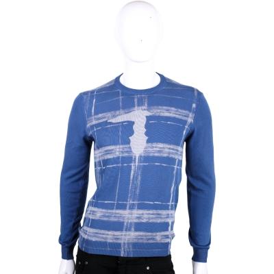 TRUSSARDI-JEANS 藍色刷漆格紋長袖針織上衣