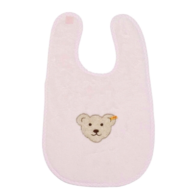 STEIFF德國金耳釦泰迪熊 - 粉色 大圍兜 (嬰幼兒衛浴系列)