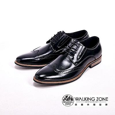 WALKING ZONE 工藝車縫木頭跟綁帶男皮鞋-黑(另有棕)