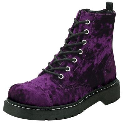 TUK爆裂紋絲絨中筒靴-紫色