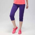 FIVE UP- 飽和色彩運動休閒七分褲-紫