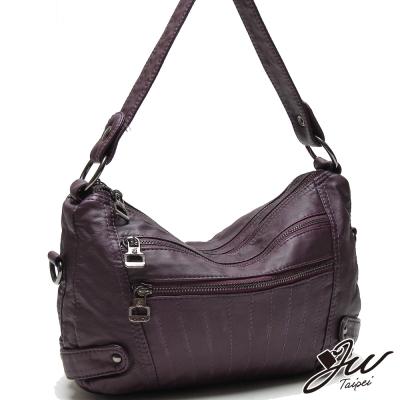 JW歐風香榭輕軟水洗車線肩背包-共三色-神秘紫