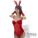 角色扮演服 夢幻絲絨兔女郎。紅色 久慕雅黛