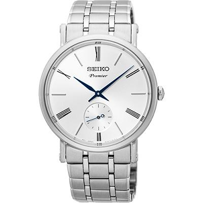SEIKO 精工 Premier 羅馬時尚小秒針腕錶(SRK033J1)-銀/38mm