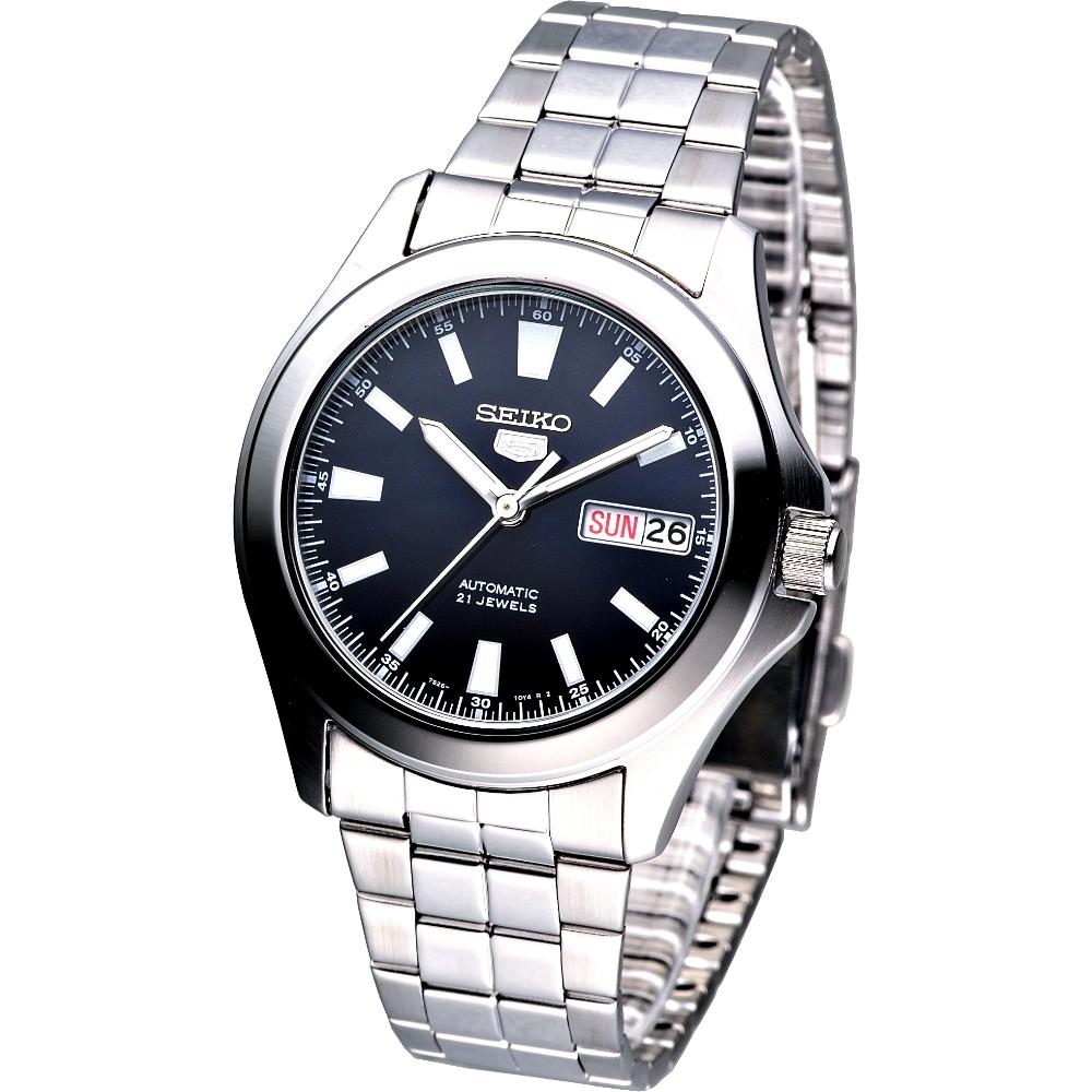 SEIKO 領航者大刻度盾牌5號機械腕錶(SNKL07K1)-黑/41×37mm
