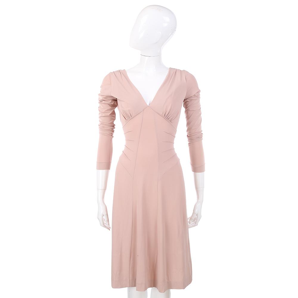 PHILOSOPHY 粉膚色V領長袖洋裝
