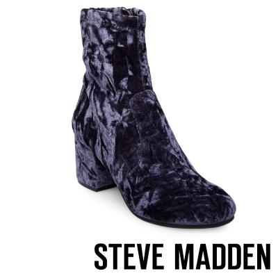 STEVE MADDEN-IRVEN 絨布粗跟拉鍊短靴-藍色