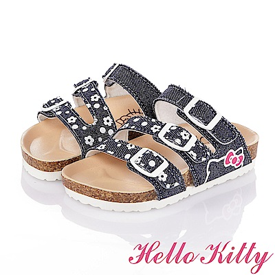 HelloKitty 牛仔布系列 舒適減壓吸震休閒拖鞋童鞋-藍