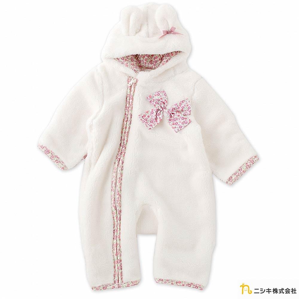 Nishiki 日本株式會社 白色碎花蝴蝶結毛毛連帽長袖連身衣