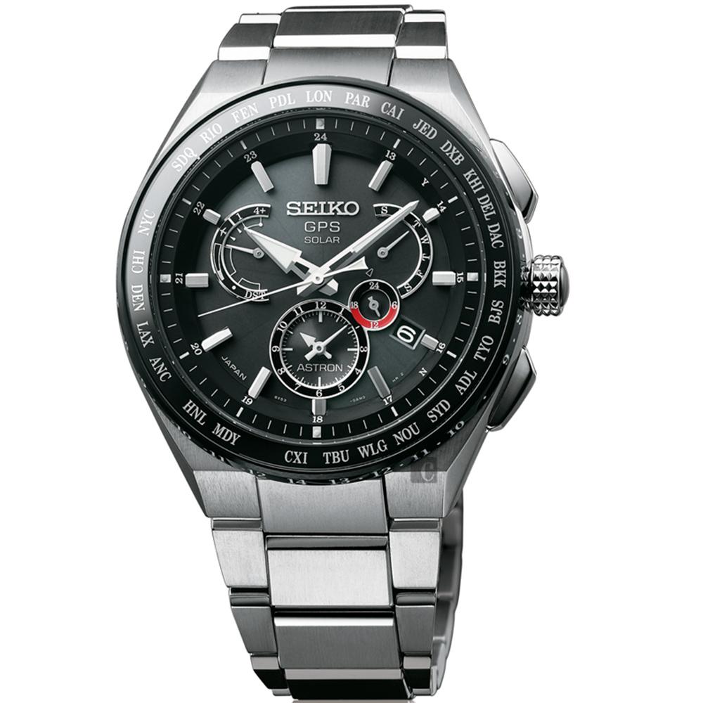 SEIKO精工 ASTRON 8X53 雙時區鈦GPS衛星定位手錶(SBXB123J)