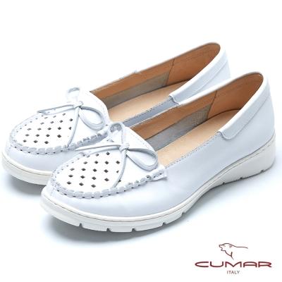 CUMAR超輕舒適俏麗蝴蝶結超輕休閒鞋-白
