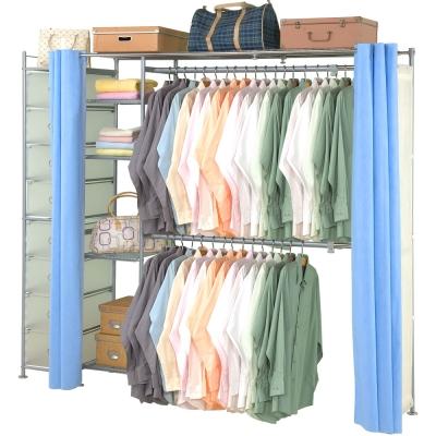 巴塞隆納-超大收納34型防塵伸縮衣櫥-附抽屜櫃