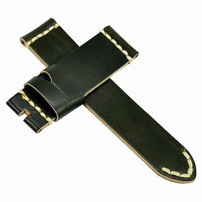 【手表達人】Panerai 沛納海代用進口錶帶-皮革/黑綠/24mm