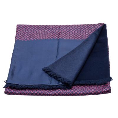 HERMES 愛馬仕經典男仕撞色菱格紋羊絨真絲圍巾(藍X紅)