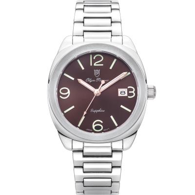 奧柏表 Olym Pianus 聚焦經典石英腕錶-咖啡  5706MS